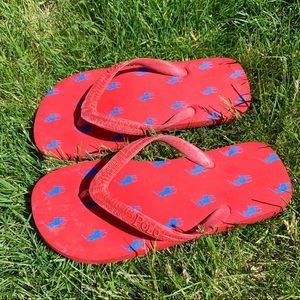 Polo Ralph Lauren Women's flip flops RED blue 7-8